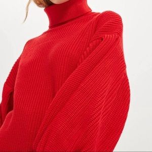 Topshop Red Petite chunky Sweater